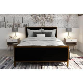 DHP Lennox Gold finished Steel and Black Faux Leather Upholstered  Queen sized Bed. Gold Beds For Less   Overstock com