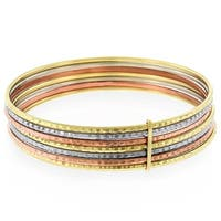 14k Gold Womens Fancy Tri Color Semanario Diamond Cut Bangle Bracelet 7.5""