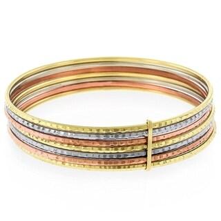 "14k Gold Womens Fancy Tri Color Semanario Diamond Cut Bangle Bracelet 7.5"""