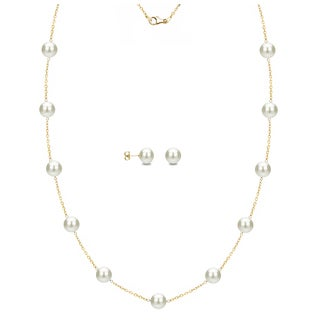 DaVonna 14k Yellow Gold White Freshwater Pearl Tin-cup Station Necklace and Stud Earrings Set (6-9 mm)