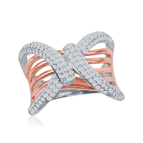 La Preciosa Sterling Sliver Solid High Polish Rose Gold Pave Zirconia Double Knot 'X' Ring - White