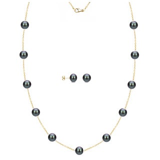 DaVonna 14k Yellow Gold Black Freshwater Pearl Tin-cup Station Necklace and Stud Earrings Set