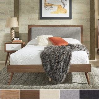 sylvia queen size midcentury linen and wood bed by inspire q modern