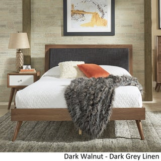Sylvia Queen Size Mid-Century Linen and Wood Bed by iNSPIRE Q Modern (5 options available)
