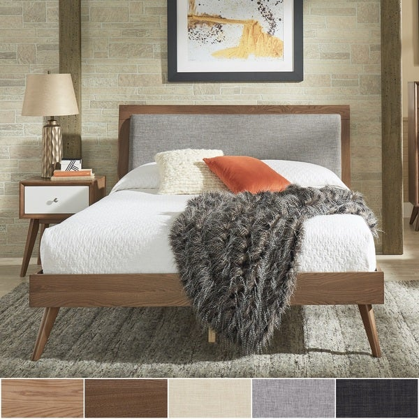 8951611d7d89 Shop Sylvia Queen Size Mid-Century Linen and Wood Bed by iNSPIRE Q ...