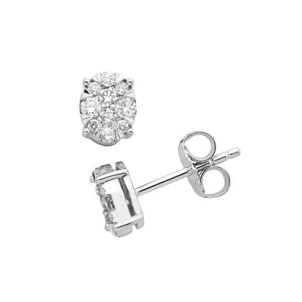435e7c2f5 Shop Boston Bay Diamonds 10K White Gold 1/3ct TDW Diamond Oval Stud Earrings  - On Sale - Free Shipping Today - Overstock - 17825108