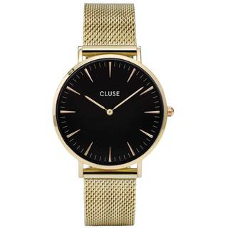 Cluse LA BOHÈME Women's CL18110 Gold-Tone Stainless Steel Mesh Bracelet Black Dial Watch