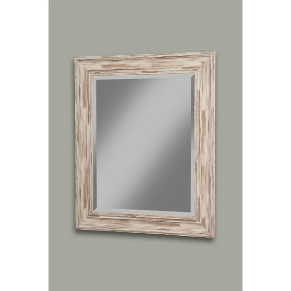Sandberg Furniture Antique White Wash Farmhouse 36 X 30 Wall Mirror