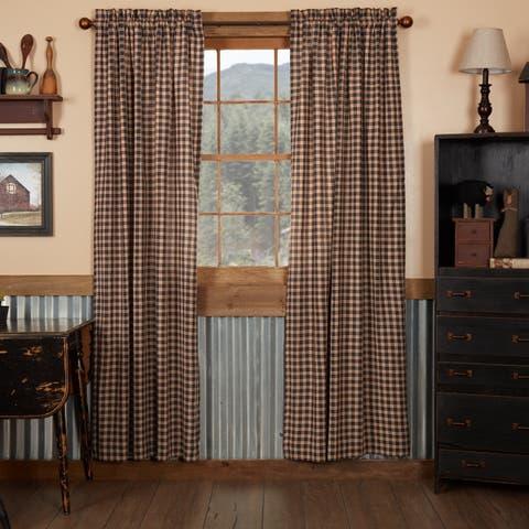 Black Americana Curtains VHC Bingham Star Panel Pair Rod Pocket Cotton Plaid - Panel 84x40