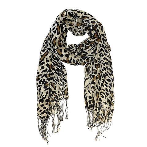 Peach Couture Leopard Print Pashmina Tan Scarf - Medium