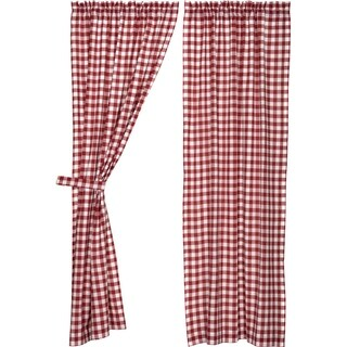 "Buffalo Red Check Lined Panel Set - 84"" x 40"""