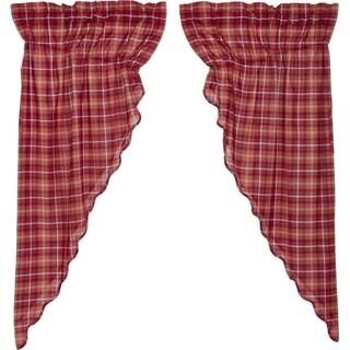 Red Rustic Curtains VHC Braxton Prairie Panel Pair Rod Pocket Cotton Plaid - 63x36