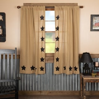 "Burlap w/ Stencil Stars Short Panel Set - 63"" x 36"""