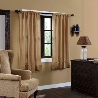 "Burlap w/ Check Scalloped Short Panel Set - 63"" x 36"""