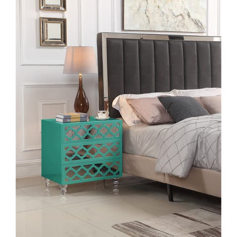 Chic Home Pirelli Side Table With 3 Self-closing Mirrored Drawers and Lacquer Acrylic Legs