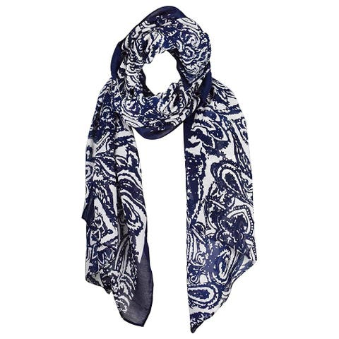 Peach Couture Lightweight Damask Paisley Navy Scarf - Medium