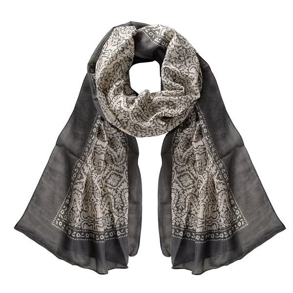 Peach Couture Lightweight Damask Paisley Sheer Grey Scarf - Medium