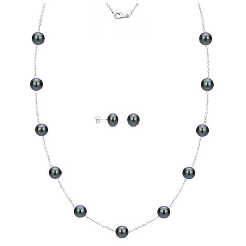 DaVonna 14k White Gold Black Freshwater Pearl Tin-cup Station Necklace and Stud Earrings Set