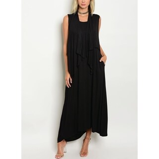 JED Women's Sleeveless Layered Black Maxi Dress with Side Pockets