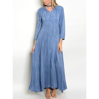 JED Women's Button Down Maxi Shirt Dress in Soft Viscose Fabric