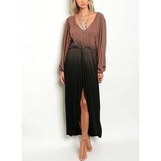 JED Women's V-neck Long Sleeve Ombre Midi Dress