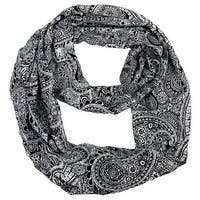 Peach Couture Colorful Victorian Damask Lightweight Black and White Infinity Loop Scarf