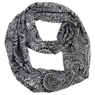 Link to Peach Couture Colorful Victorian Damask Lightweight Black and White Infinity Loop Scarf - Medium Similar Items in Scarves & Wraps