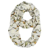 Peach Couture Bird Print Vintage Design Sheer Cream Infinity Scarf - Medium