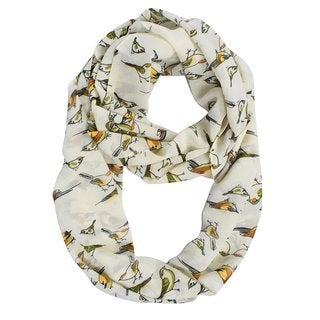 Peach Couture Bird Print Vintage Design Sheer Cream Infinity Scarf