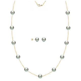 DaVonna 14k Yellow Gold Grey Freshwater Pearl Tin-cup Station Necklace and Stud Earrings Set (6-9 mm)