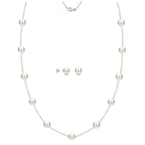 DaVonna 14k White Gold White Freshwater Pearl Tin-cup Station Necklace and Stud Earrings Set