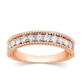 10k Rose Gold 3/4ct TDW Diamond Milgrain Stackable Anniversary Band Ring