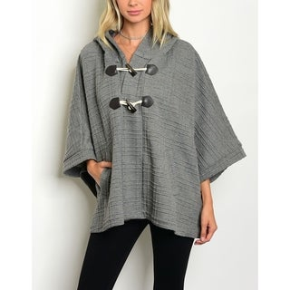 JED Women's Gray Hooded Poncho Toggle Coat