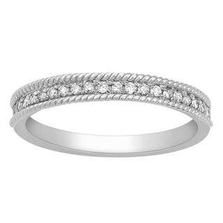 14k White Gold 1/6ct TDW Diamond Milgrain Wedding Band