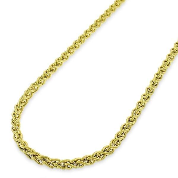 deb46058e8edd Shop 14k Yellow Gold 3mm Hollow Wheat Spiga Link Necklace Chain ...
