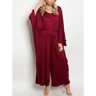 JED Women's Burgundy Soft Knit Relax Fit Harem Wide Leg Jumpsuit