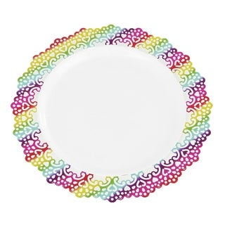 "Premium Decorative 10"" Inch Buffet/Dinner Round Plastic Plates Colored Lace Rim (24 pack)"