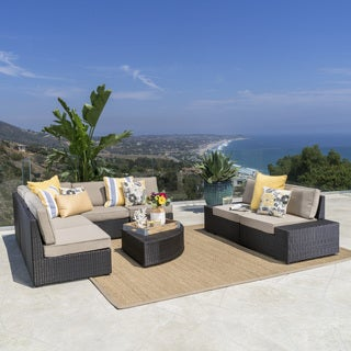 Santa Cruz Outdoor 8-piece Wicker Sofa Set with Water Resistant Cushions by Christopher Knight Home