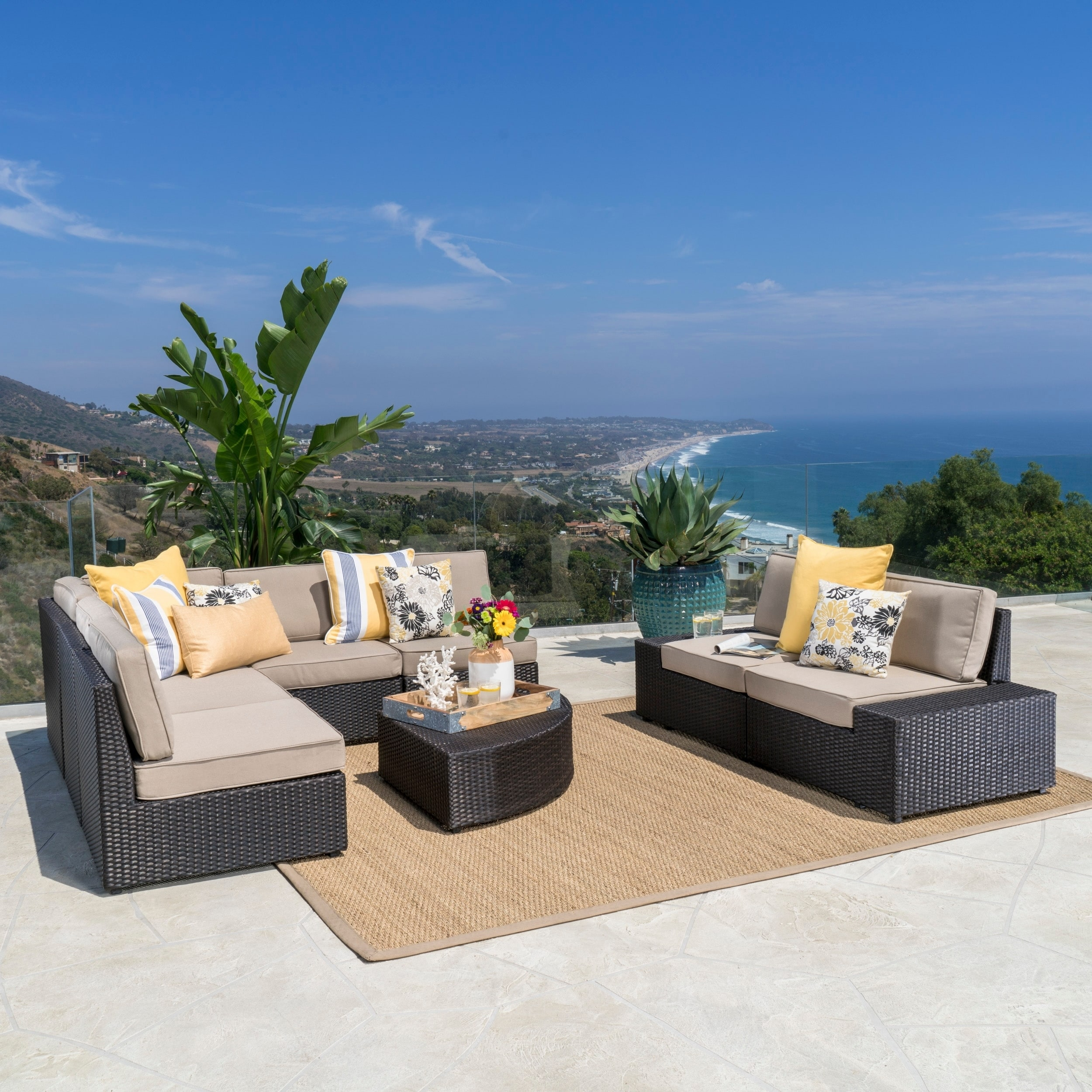 Outdoor 8 Piece Wicker Sofa Set