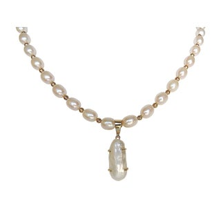 Pearl Strand with Natural Pearl Pendant Necklace - 18""