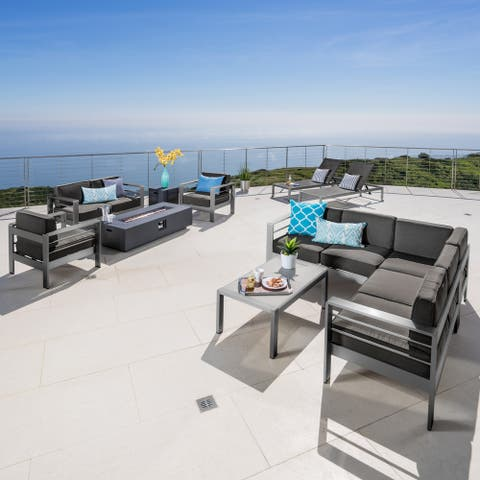 Cape Coral Aluminum 11-piece Estate Patio Collection with Fire Table by Christopher Knight Home