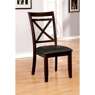 Furniture of America Clevelan Transitional Dark Cherry Wood, Espresso Faux Leather, and Foam Dining Chairs (Set of 2)