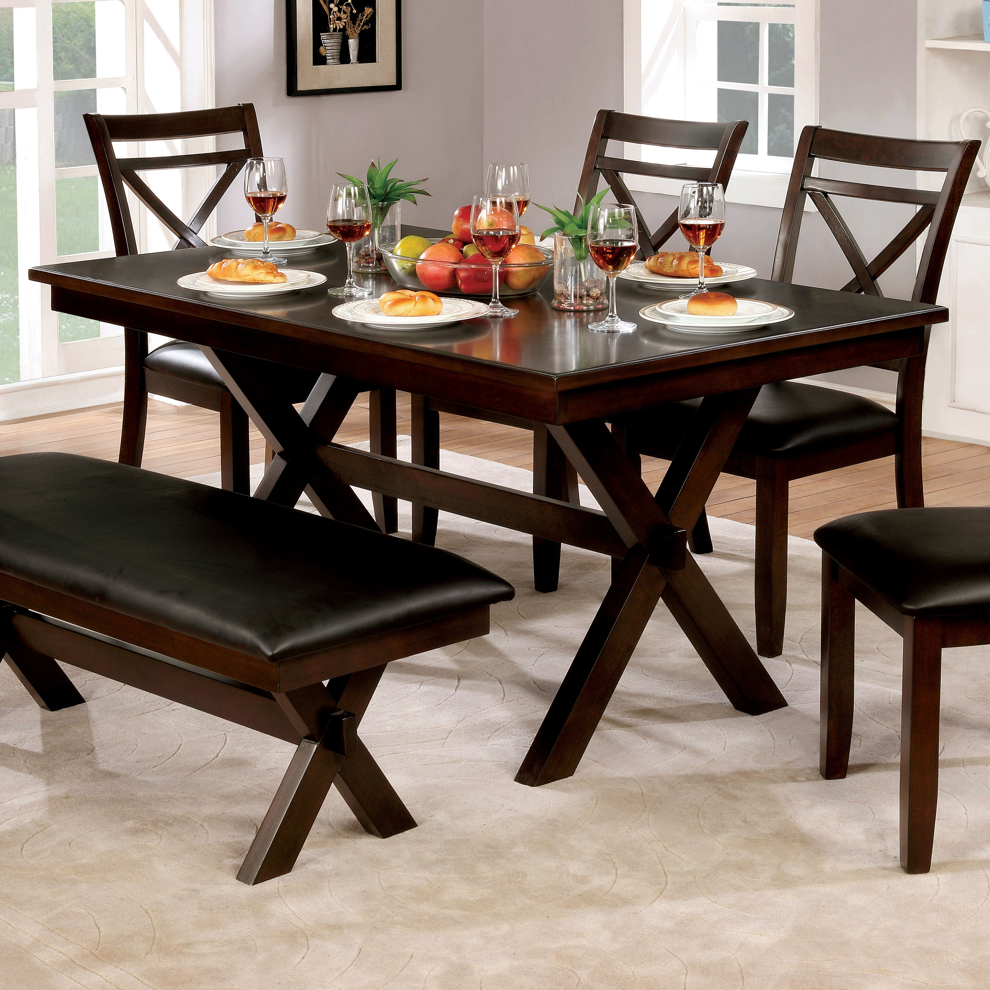 size 40 4ff5c d5da2 Clevelan Dark Cherry Wood 60-inch Transitional Dining Table by FOA