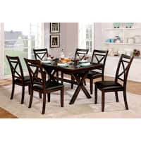 Furniture of America Clevelan Transitional 7-piece Dark Cherry Dining Set