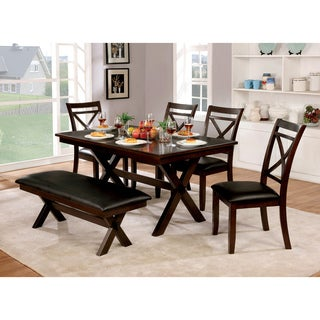 Furniture of America Clevelan Transitional 6-piece Dark Cherry Dining Set