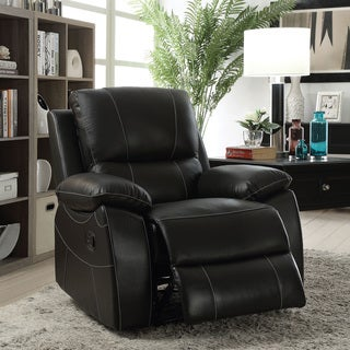 Furniture of America Neler Contemporary Black Top Grain Leather Match Recliner