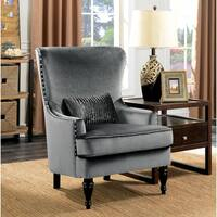 Furniture of America Sevi Glam Tufted Flannelette Wingback Chair