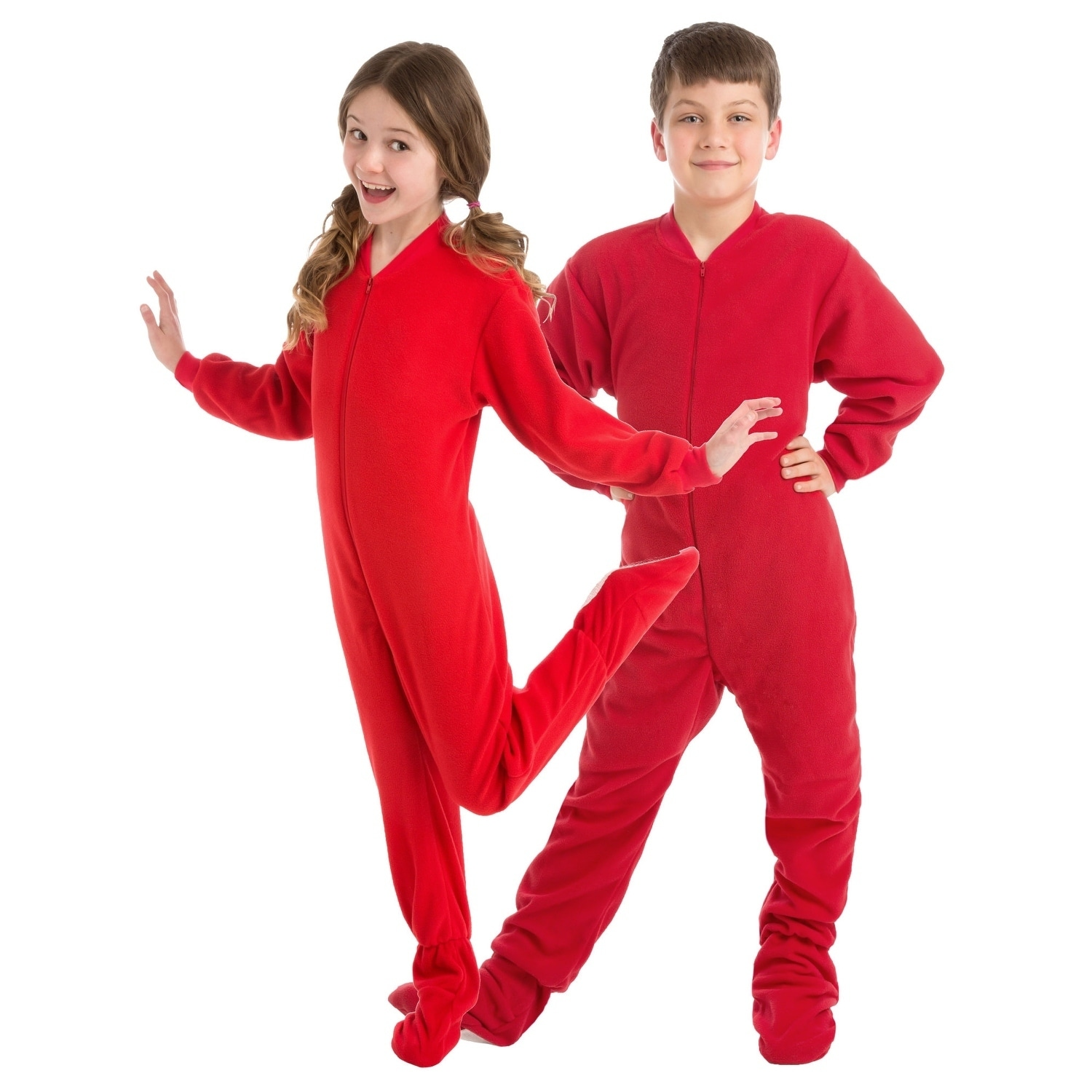 Christmas Footie Pajamas For Kids.Big Feet Pjs Big Boys Kids Red Fleece Footed Pajamas Sleeper