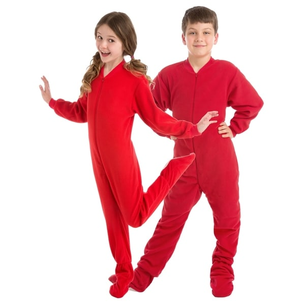 84605908bc44 Shop Big Feet PJs Big Boys Kids Red Fleece Footed Pajamas Sleeper ...