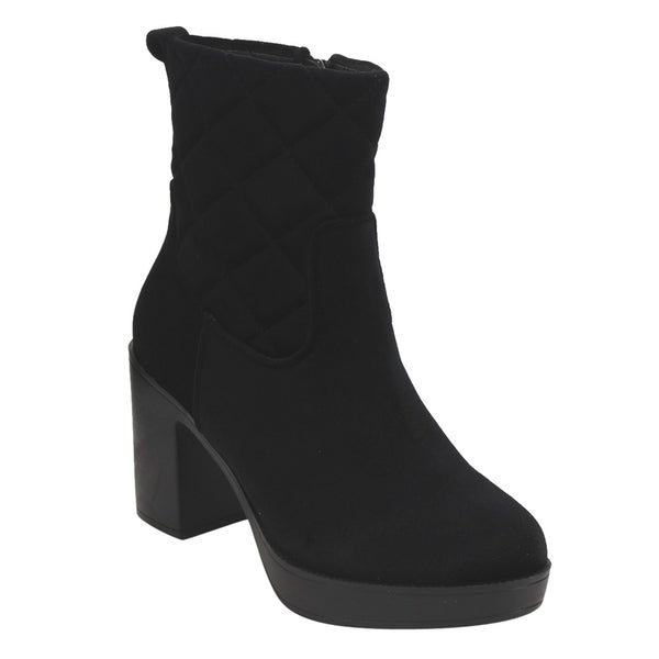 EI88 Women's Side Zipper Platform Block Heel Quilted Ankle Booties